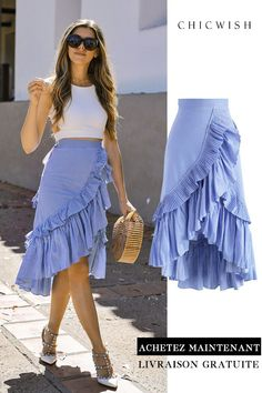 Applause of Ruffle Tiered Frill Hem Skirt in Blue StripesTrendy Ideas For How To Wear Skirts In Summer ClothesSearch results for: 'ruffle skirt' - Retro, Indie and Unique Fashion Mode Outfits, Dress Outfits, Casual Outfits, Summer Outfits, Fashion Dresses, Dress Summer, Blue Skirt Outfits, Summer Clothes, Look Fashion