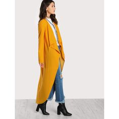 Drape Collar Curved Hem Coat ($17) ❤ liked on Polyvore featuring outerwear, coats, waterfall drape coat, drapey coat, long waterfall coat, waterfall coats and long coat