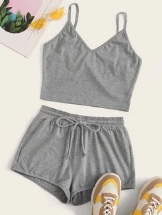 Shop Grey Cami Top & Drawstring Waist Shorts at ROMWE, discover more fashion styles online. Cute Lazy Outfits, Summer Outfits, Casual Outfits, Summer Shorts, Formal Outfits, Long Shorts, Cute Pajama Sets, Cute Pajamas, Two Piece Outfit