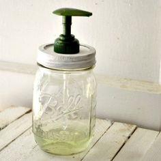 adorable mason jar soap dispenser DIY. would look great in a vintage-y themed room.