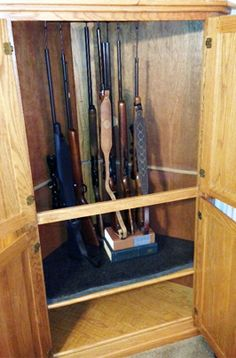 Rifle Rods used to store long guns in a corner entertainment center/tv unit.  No need for a custom made gun rack.  Rifle Rods are very versatile and work with whatever storage space you have.
