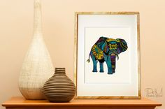 Poster Print  Elephant of Namibia Tribal by PomGraphicDesign, $17.00
