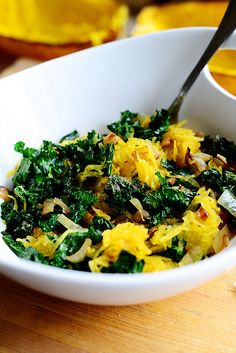 Looking forward to trying this for lunch tomorrow.  ;)  So pretty!  Spaghetti Squash with Kale by Ree Drummond / The Pioneer Woman, via Flickr