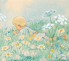 illustrations elsa beskow - Page 6 Elsa Beskow, Art And Illustration, Vintage Book Art, Les Oeuvres, Cute Art, Art Drawings, Canvas Art, Fairy Tales, Artsy