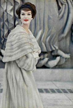 Simone is wearing a Tourmaline Emba mink coat by Revillon, photo by Virginia Thoren 1958