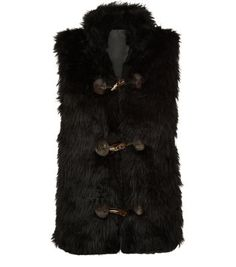 Pussycat Black Faux Fur Toggle Front Gilet