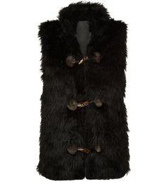 Pussycat Black Faux Fur Toggle Front Gilet