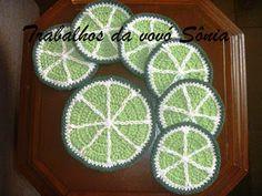 Trabalhos da vovó Sônia: Porta-copos (ou descanso para copos) limão - croch...