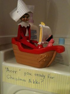 Our elf loves pirates as much as we do.