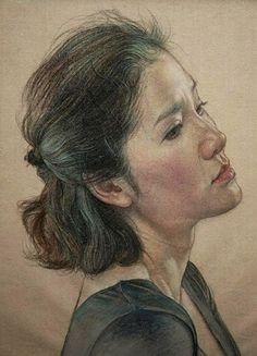 William Wu, color pencil {contemporary art female head profile woman portrait drawing #loveart}
