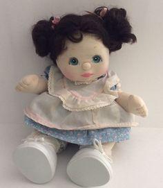 Vintage Mattel MY CHILD Doll Curly Dark Brown Pigtails Original