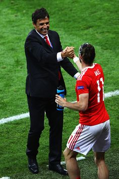 #EURO2016 Gareth Bale and manager Chris Coleman of Wales celebrate their team's 30 win in the UEFA EURO 2016 Group B match between Russia and Wales at Stadium...