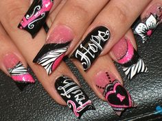 Pink and black nail art...these remind me of Iron Fist shoes for some reason... (a favourite gothic punk shoes repin of VIP Fashion Australia )