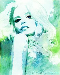 Aqua Blue Hues Watercolor Fashion Illustration door EstherBayer, $33.50