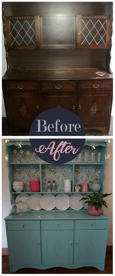 Painting furniture: Before and after. How to upcycle a dresser with paint and wallpaper. Using bright colours to make a feature unit. From Turning a House into a Home: Amateur DIY on a budget