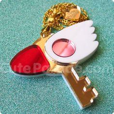 Card Captor Sakura Fan Art Key of Clow Mirror Acrylic Magical Girl Necklace Ready to Ship