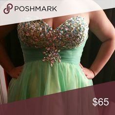 Short Homecoming Dress Lime green with a touch of blue. Lots of going on sweetheart neckline. Dresses Prom