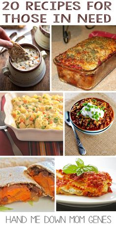 20 Recipes for Those in Need. Perfect for: people who have lost a loved one, new parents, deployment, moving, illness, etc. Vegetarian ideas are included. Check the round-up out at Hand Me Down Mom Genes. #simplerecipes #casseroles