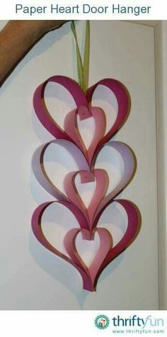 This easy to make paper heart decoration is easy enough for child to make. It's a nice Valentine's Day or Mother's Day project. This is a guide about making a Paper Heart Door Hanger. Valentine Crafts For Kids, Mothers Day Crafts, Valentines Day Decorations, Valentines Diy, Holiday Crafts, Diy Christmas, Decoration St Valentin, Mother's Day Projects, Heart Crafts