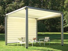 Pergola and Gazebo Design Trends: This modern gazebo is constructed of tubular stainless steel with pleated vinyl-mesh sides and a retractable top. It is 10' x 10' by 8' tall and comes in several colors.  Photo by Richard Schultz Design. From DIYnetwork.com