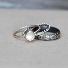 Rose Cut White Topaz Dark Sterling Stacking Rings Engagement Ring Gemstone Ring