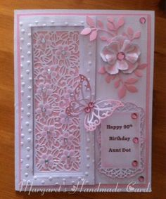 Another one of Sue Wilson striplet dies with a little glitter and gems and die cut flower foliage and butterfly.