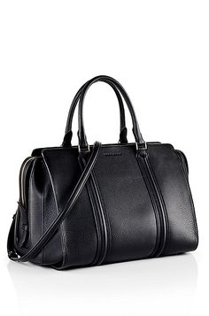 'Berlin' | Grained Leather Top Handle Bag , Black