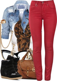 A fashion look from April 2013 featuring white shirt, high-waisted jeans and wedge sneaker. Browse and shop related looks. Nike Outfits, Outfits Mujer, Casual Outfits, Fashion Outfits, Womens Fashion, Fashion Trends, Fashion Scarves, Fashion Fashion, Fall Winter Outfits