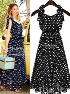 f0b6e6381a4 Korean Summer Sweet Polka Dot Strap With Bow Dress