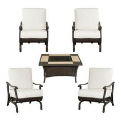 Hampton Bay Pembrey 5-Piece Patio Fire Pit Chat Set with Bare Cushion-HD14212 at The Home Depot