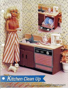 Kitchen Clean Up / Annie's Fashion Doll Plastic Canvas Pattern Club FP16-03 by grammysyarngarden on Etsy