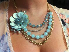 Necklace made with vintage brooch. I love this!