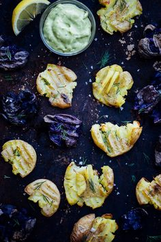 Smashed Roasted Potatoes with Avocado Dill Aioli