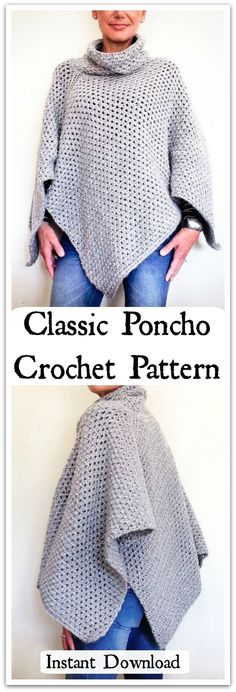 Slip on this soft, cozy poncho and head off on your next adventure. A classic poncho with a relaxed fit, asymmetrical shape, and a slouchy mock turtleneck that will keep out the chill on those late fall days. Instant PDF download. #ad #affiliate #crochet #pattern
