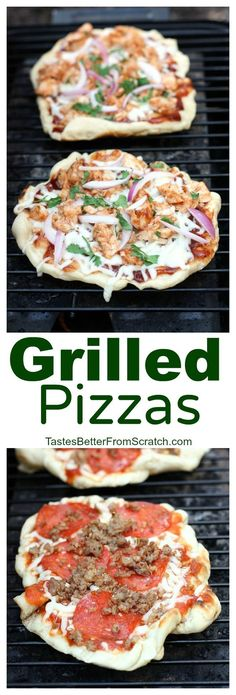 """Lauren {Tastes Better From Scratch} recipe creator says, """"The easiest and most delicious way to eat pizza! We LOVE these grilled pizzas and they're so easy to make from home!"""""""
