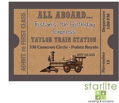 Antique Vintage Style Train Ticket Design Birthday Invitation - Printable. $15.00, via Etsy.