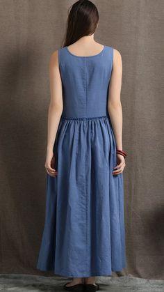 dresses casual comfortable Maxi Linen Dress - Blue Long Casual Comfortable Sleeveless Women's Summer Dress with 2 Large Pockets Casual Summer Dresses, Summer Dresses For Women, Dress Summer, Linen Dresses, Blue Dresses, Ethno Style, Mode Hijab, Dress Making, Fashion Dresses