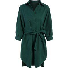 Tie Belt Midi Shirt Dress (€21) ❤ liked on Polyvore featuring dresses, green shirt dress, long shirt dress, tie belt, midi dress and calf length dresses
