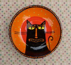 Halloween Ceramic Cat Bowl Orange & Black by sharon bloom, I have many of her pieces and pins.check them out Halloween Ii, Halloween Crafts, Happy Halloween, Halloween Decorations, Halloween Dishes, Scratchboard Art, Halloween Entertaining, Skull And Bones, Cat Art
