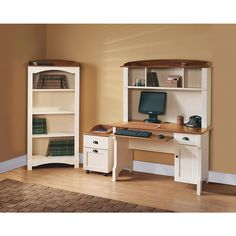 """Christopher Lowell Shore Mini Solutions Computer Desk With Hutch, 63 1/4""""H x 47 1/2""""W x 23 1/2""""D, Antique White"""