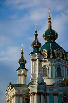 THE SAINT ANDREW CHURCH, KIEV, THE UKRAINE, THE 18TH CENTURY ~~ The church was constructed in 1747–1754 by the order of Elizabeth I, Russian Empress. According to the chronicles Saint Andrew came to the Dnieper river's slopes in the 1st century AD and erected a cross on the current location of the church. He prophesied that the sparsely inhabited area would become a great city.As he predicted, the site arose to become the city of Kiev, a center of the Eastern Orthodox faith.