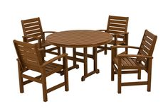 Polywood PWS152-1-TE Signature 5-Piece Dining Set in Teak