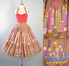 Vintage 50s Circle Skirt / 1950s NOVELTY Print by GeronimoVintage