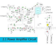 Circuit Schematic of 2.1 Power Amplifier using TDA7377