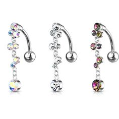 Fancy Square Flower Dangling 925 Sterling Silver with Stainless Steel Belly Button Navel Rings
