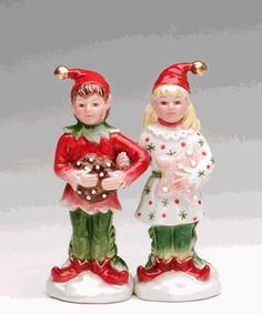 Holiday Elves Salt and Pepper Shakers