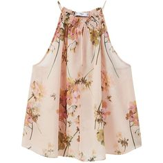 Mango Flowy Print Top, Pastel Orange ($25) ❤ liked on Polyvore featuring tops, shirts, floral print top, halter-neck tops, pink floral top, graphic tops and floral halter top