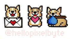 147 likes, 4 comments - All sales of pixel corgis will go towards my future corgi fund 😂♥️ . Easy Perler Bead Patterns, Diy Perler Beads, Cross Stitch Patterns, Pony Bead Animals, Beaded Animals, Pixel Art, Corgi, Hama Beads Design, Dog Crafts