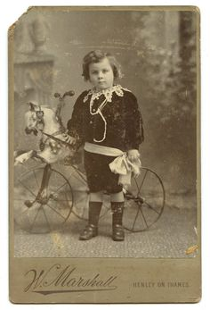 Little Boy & Horse Tricycle Victorian Cabinet Card Antique Photo 1880s Bicycle Toy