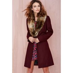 Nasty Gal Greenwich Coat - Wine found on Polyvore